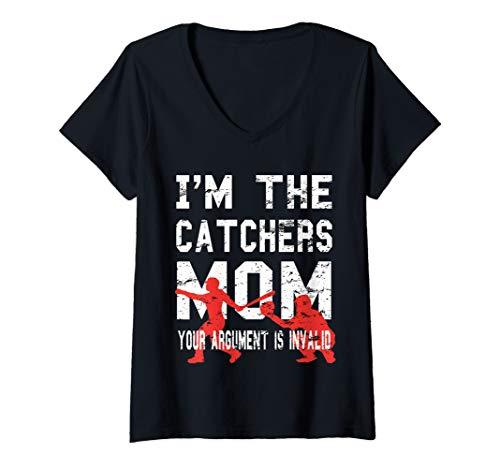 Womens Baseball Softball Catcher Mom V-Neck T-Shirt