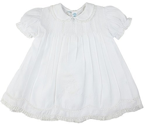 Feltman Brothers Baby Girls Solid White Embroidered Slip Dress with Collar 6M ()