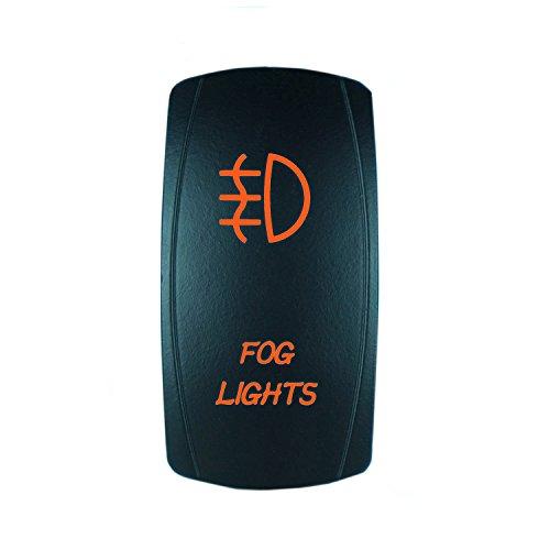 QUNQI STAR 5 pin Laser Backlit Rocker Switch FOG LIGHTS 20A 12V On/off LED Light Toggle Switch (Orange)
