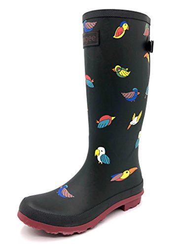 Rongee Rubber Rain Boots for Women Ladies Rainboots Black Bird Printed with Adjustable Gusset Oxford Bag Packed (Size 7 B(M) US)