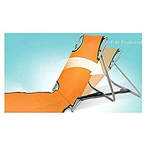 Originals Collection Portable Beach Mat Lounge Folding Chair, Adjustable Reclining Back, Folds Flat To Carry Or Store (Orange) (Lounge Seating Collection)