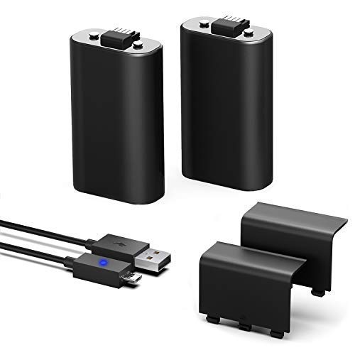 troller Battery Pack, 2PCS x 1200 mAh Rechargeable Battery and 5FT Cable for Xbox One/Xbox One X/Xbox One S Wireless Controllers Play & Charge ()