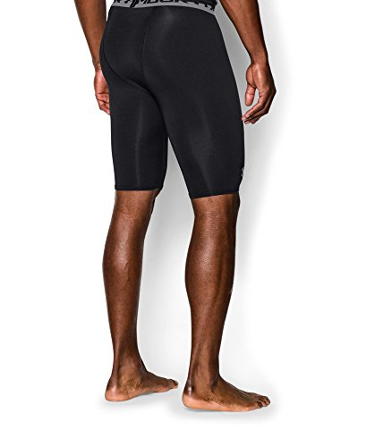 Under Armour Men's HeatGear Armour Compression Shorts – Long, Black (001)/Steel, Small by Under Armour (Image #1)
