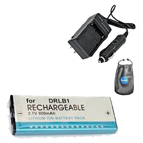 Amsahr S-KNDRLB1 Digital Replacement Battery Plus Travel Charger for Konica DR-LB1, KD-300Z - Includes Lens Accessories Pouch (Gray) by Amsahr