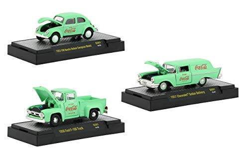 - Coca-Cola Green Set of 3 Cars Limited Edition to 4,800 Pieces Worldwide Hobby Exclusive 1/64 Diecast Model Cars by M2 Machines 52500-GG01