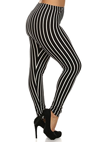 World of Leggings® Vertical Black on White Stripes Leggings - Plus Size