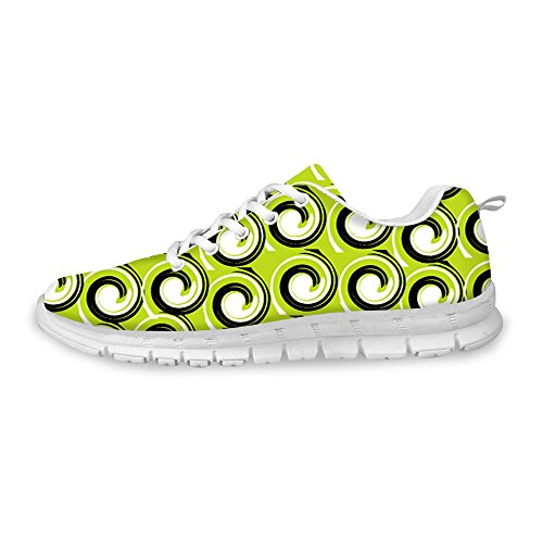FOR U DESIGNS Stylish Womens Fashion Sneaker Lace-Up Breathable Sturdy Running Shoes Green a