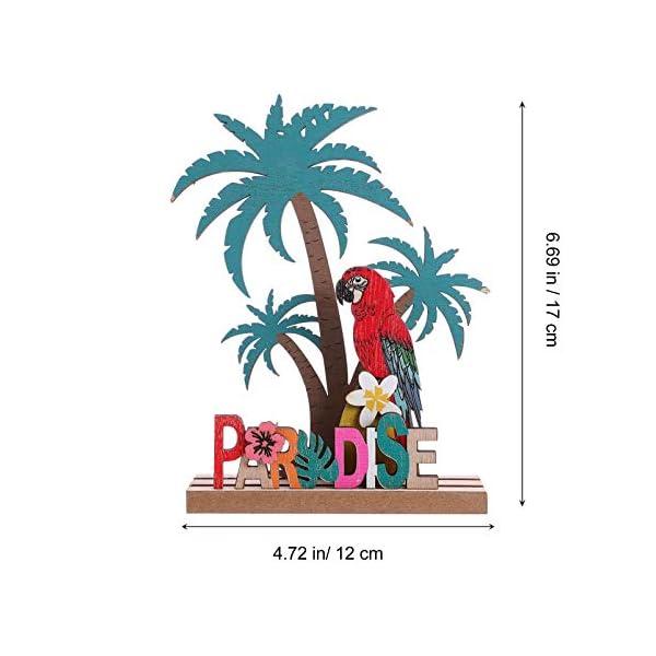 41lpwRfMiLL Amosfun Aufsteller Holz Schriftzug Papagei Kokosnussbaum Paradise Holzschrift Tropischer Stil Desktop Ornament DIY…