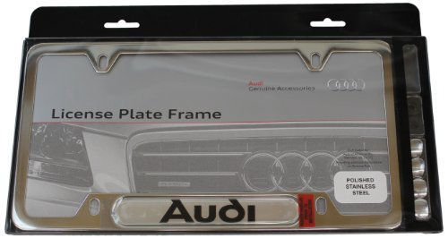 Genuine Audi Accessories ZAW355016 Polished License Plate Frame with Logo