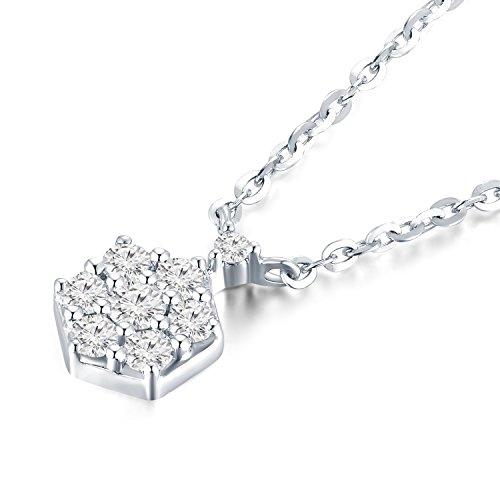 Or blanc 18ct 750hexagonale Accents de diamant Pendentif en argent sterling 925Chaîne de 40,6cm/40cm (0,13CT, G-H Couleur, Vs1-si2Clarté) Femme Bijoux Cadeau