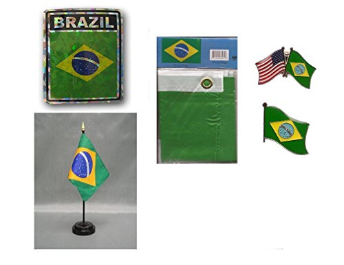 (ALBATROS Brazil Heritage Flag Set (3 ft x 5 ft Flag, Decal, Lapel Pins, with Desk Flag) for Home and Parades, Official Party, All Weather Indoors)