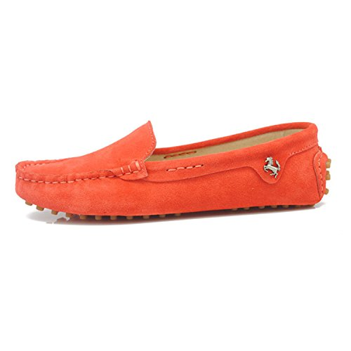 Minishion TYB9601 Womens Round Toe Loafers Boat Shoes Ballet Flats Loafers Dark Orange DODXCtOzS