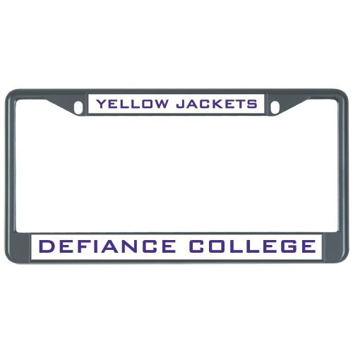 Defiance Metal License Plate Frame in Black Defiance Yellow Jackets 12