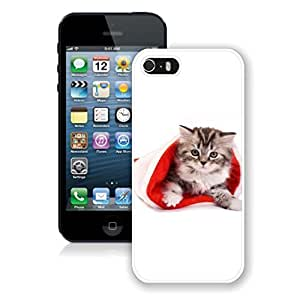 2014 Newest Small Cute Cat In Christmas Hat Iphone 5s Case,Phone Case For Iphone 5,Iphone 5 White TPU Cover