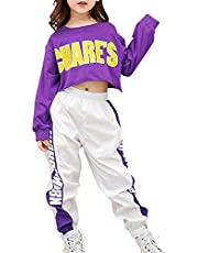 Tasty Life Moda para Niños Hip Hop Ropa Deportiva Harajuku Alphabet Top De Manga Larga + Pantalones para Correr Modern Jazz Dance Costume Ropa Deportiva Set