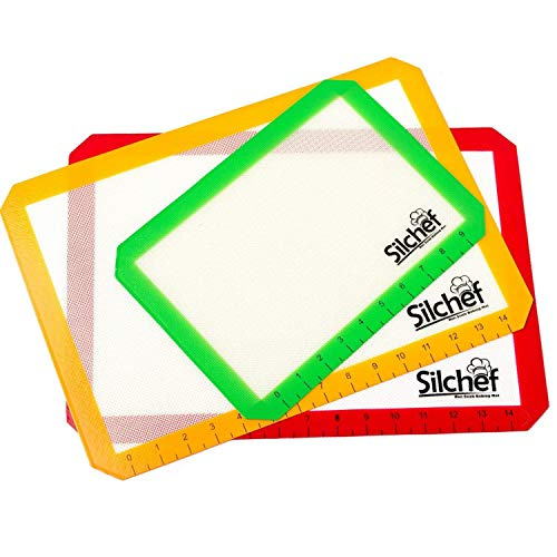 (Silchef Silicone Baking Mats – 3 Pack Non Stick Baking Mats with Measurements, 2 Half Sheet Liners and 1 Quarter Sheet Baking Mat, Professional Quality, Non Toxic and FDA Approved)