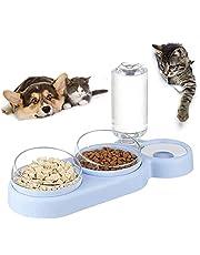 Yamig Voederbak voor katten, voederbakken voor huisdieren, antislip, tot 15 graden, met automatische waterfles, voor kleine en middelgrote honden en katten, blauw