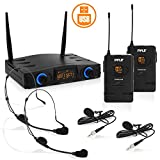 Compact UHF Wireless Microphone System - Pro Portable Dual Channel Desktop Digital Mic Receiver Set w/ 2 Belt-Pack Transmitter, Receiver, 2 Headset, Lavalier Mics, XLR, for Home, PA - Pyle PDWM2958B