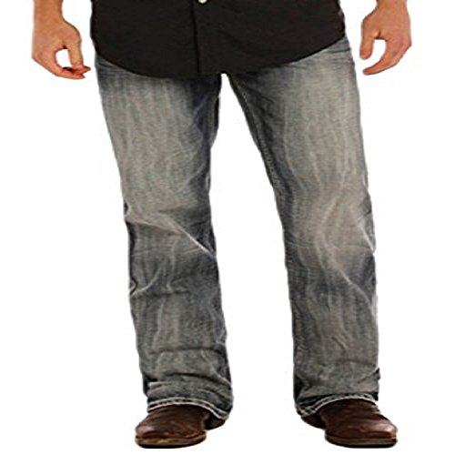 Rock & Roll Denim Men's Relaxed Fit Double Barrel Straight Leg Mid Wash Western Jeans