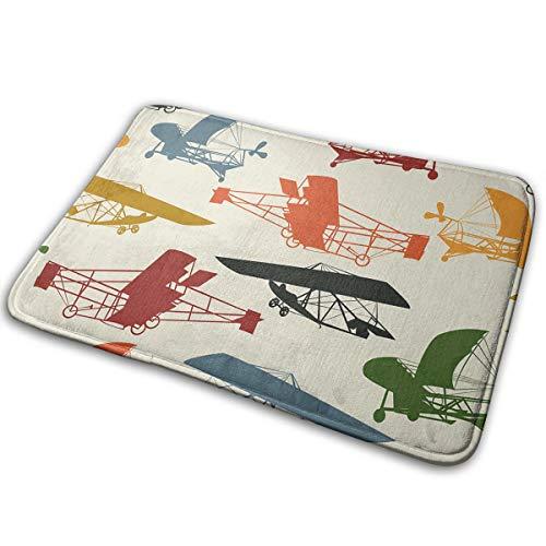 Feim-AO Free Vintage Airplane Clipart Anti-Slip Machine-Washable Door Mat Bathroom Kitchen Rug Floor Mat 23.6(L) X 15.7(W) Inch