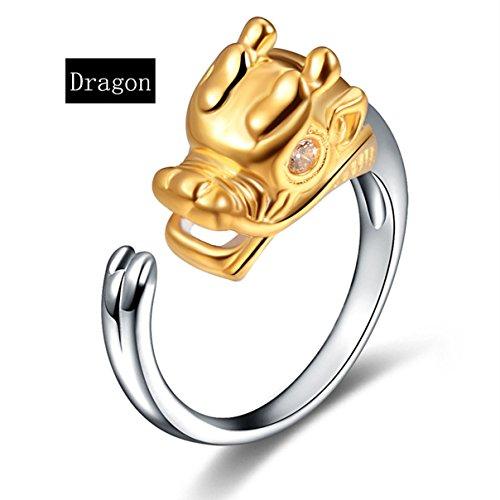 Kebaner Women 925 Sterling Silver Zircon Chinese Zodiac Dragon Cute Animal Symbol Sign Ring Band (Chinese Zodiac Dragon Symbol)