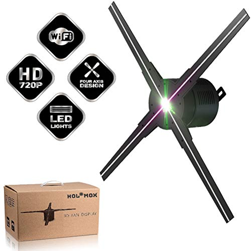 HOLOMOX 2019 New 19.6 Inch with 4 Blades! 3D Hologram Advertising Display Fan, iOS Android WiFi Cloud Cluster, High Res, Hundreds of 3D Videos, Holographic Projector Ideal for Any Retail Store.