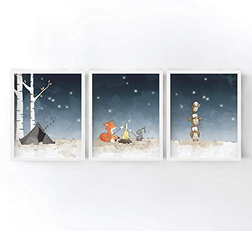 - Woodland Animals Nursery Art Prints Set of 3 - Camping Nursery Scene with Fox, Rabbit, and Owls