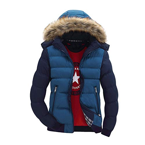 Winter Jacket Men Cotton Padded Warm Thicken Short Jacket Coat Clothing Stand Colla,Gold,XXL