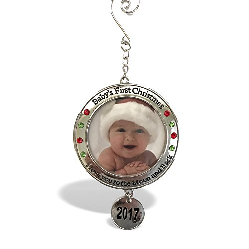 Baby's First Christmas - 2017 Photo Christmas Ornament with I Love You to the Moon and Back Engraved Around Picture Opening – New Baby (Grandson's First Christmas Ornament)