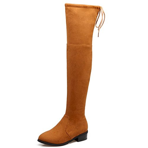 COOLCEPT Women Fashion Mid Heel Long Stretch Boots Over The Knee 404 Yellow