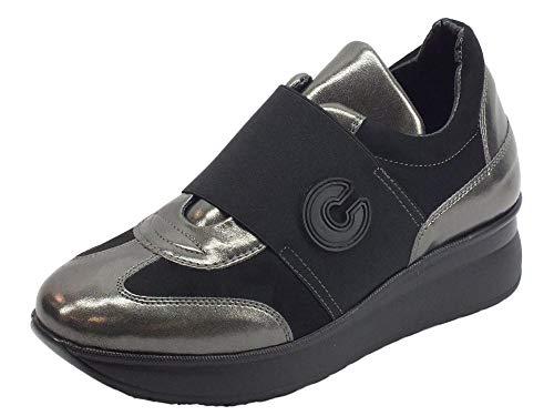 Cuir Et Soft Femme Sneakers En Cinzia Confort Noir Grise PHRqXAA06