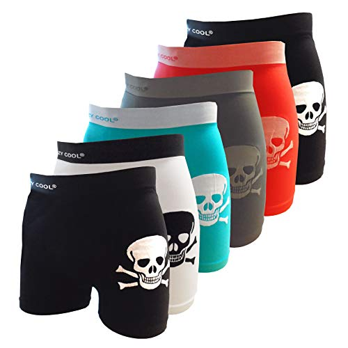 (Crazy Cool Seamless Fun Boxer Briefs Boy Short Underwear 6-Pack (Skull-6Pack))