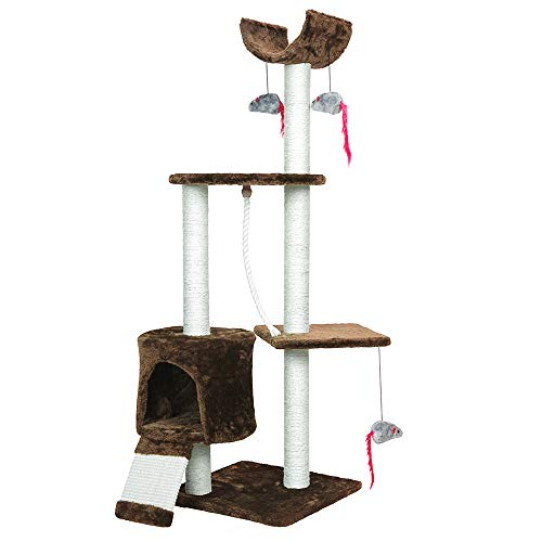 PET Palace Cat Tree Kitten Activity Tower Condo with Perches, Scratching Posts, and Squeaking Mice,...