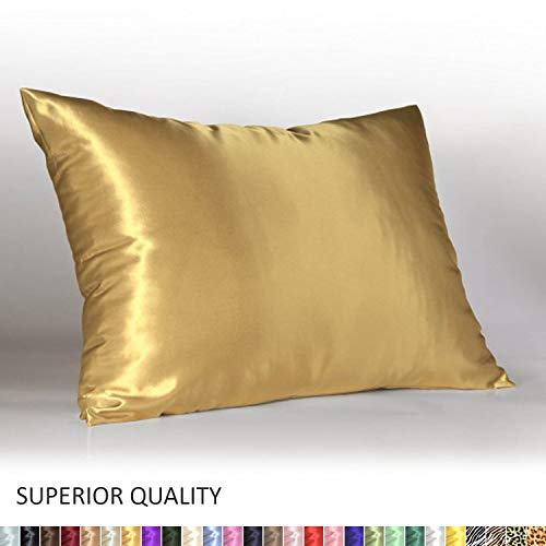 (Shop Bedding Luxury Satin Pillowcase for Hair - Standard Satin Pillowcase with Zipper, Gold (1 per Pack) - Blissford )