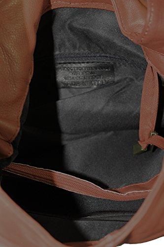 fermeture Italy Brown bandoulière femme véritable Made dans cuir 100 CTM Dark à 41x55x12cm la à éclair main sac en in sac pxwpYFU1
