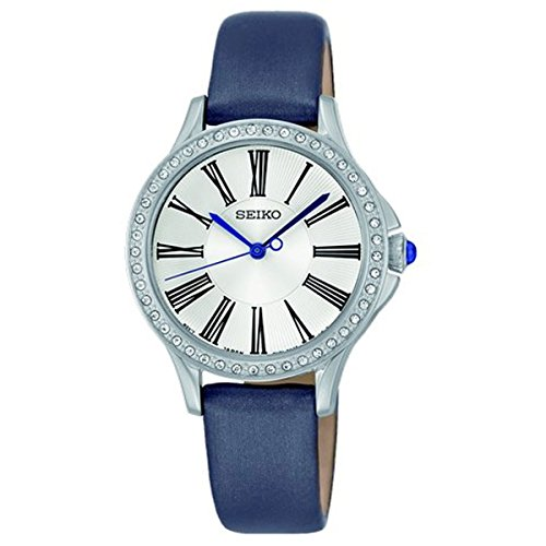 (Seiko SRZ441 P2 Silver with Gray Leather Women's Analog Quartz Watch with Swarovski Crystal Bezel)