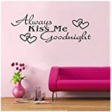 WOW!STickeRs Black Always Kiss Me Goodnight Wall Decal Sticker Home Art (BLACK, 1)