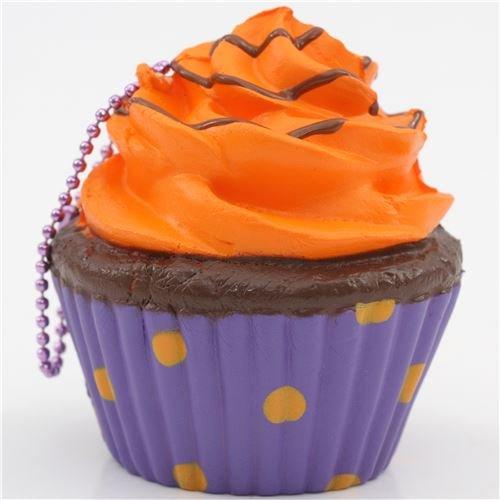 [Orange icing purple base cupcake squishy charm cellphone charm kawaii] (Cute Halloween Decorated Cupcakes)