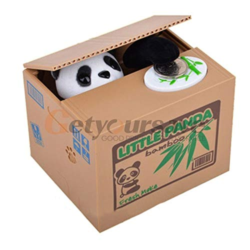 Money Saving Box Moneybox - Panda Cat Thief Money Boxes Toy Piggy Banks Gift Kids Automatic Stole Coin Bank Saving Box Moneybox - Rose Miss Piggy Itazura Automatic For Coin ()