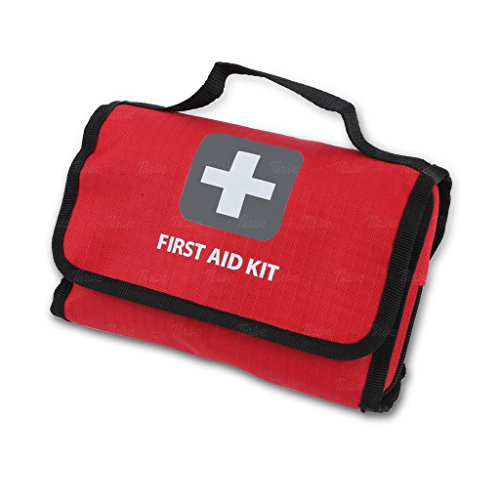 First Aid Kit –181 Pieces – Bag. Packed with hospital grade medical supplies for emergency and survival situations. Ideal for the Car, Camping, Hiking, Travel, Office, Sports, Pets, Hunting, Home