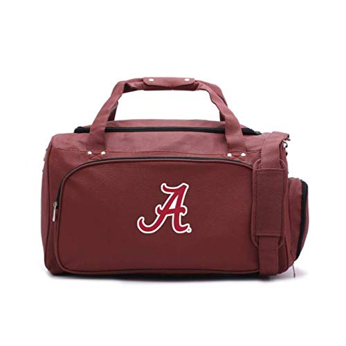 Tide Leather Alabama Crimson Football - Zumer Sport Alabama Crimson Tide Football Leather Travel Kit Duffel Gym Bag - Made from Actual Football Materials - Shoulder Strap and Handles - Shoe Compartment - Brown