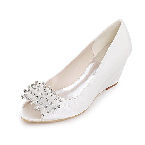 couleurs confortables chaussures de Heels Slip Elegant Sandales white plus arcs L YC mariage et de Silk z6qR68x