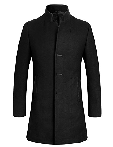 APTRO Men's Wool Coat Slim Fit Business Overcoat FD01 Black L