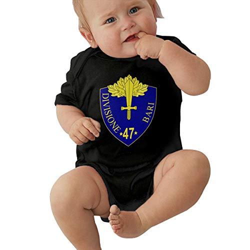 Unisex Baby 47th Infantry Division Bari Jumpsuit Cotton Romper Short Sleeve Bodysuit One-Piece Suit Black