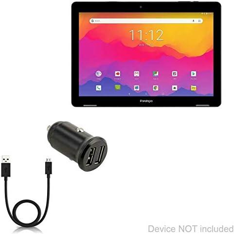 Prestigio Wize 3771 3G カーチャージャー BoxWave [Minimus カーチャージャー ダイレクトシンクケーブル付き] 小型ミニマルコンパクトデュアルカーチャージャー Prestigio Wize 3771 3G用 - ジェットブラック