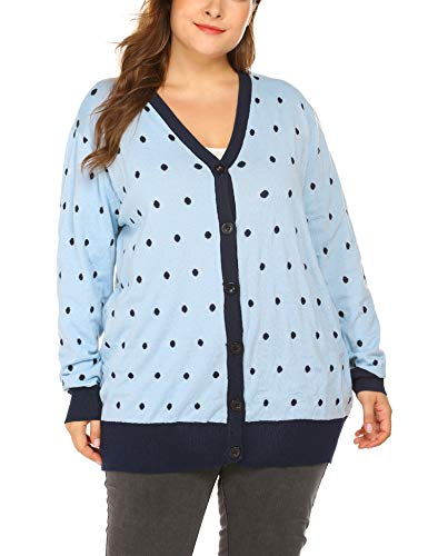 Print V-neck Cardigan - IN'VOLAND Women's V-Neck Button Down Knitwear Long Sleeve Dots Print Knit Snap Cardigan Sweater