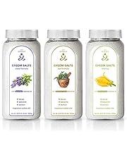 Zen Rituals badzout voor ontspanning set met 3 flessen - puur magnesium badzout ylang ylang, Epsom zout geneeskrachtige kruiden, Epsom zout lavendel - met etherische oliën, 3 KG