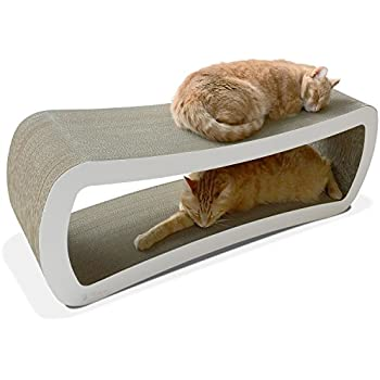 PetFusion Jumbo Cat Scratcher Lounge (White). [Superior Cardboard U0026  Construction, Significantly