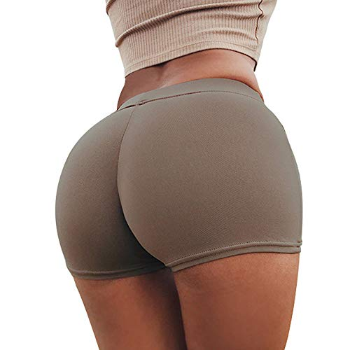 Keetall Solid Shorts Women Fashion High Waist Shorts Ladies Casual Fitness Pants Brown S]()