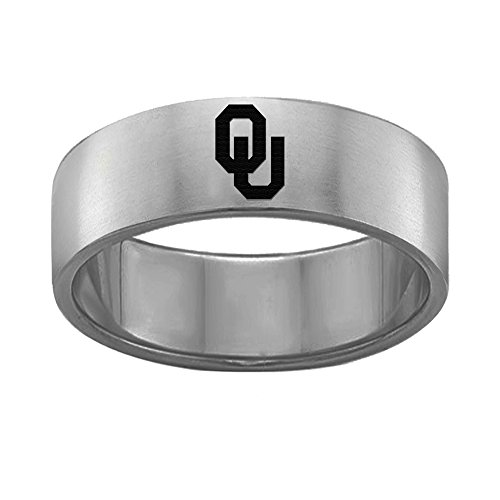 - University of Oklahoma Sooners Rings Stainless Steel 8MM Wide Ring Band - Single Logo Style (10)